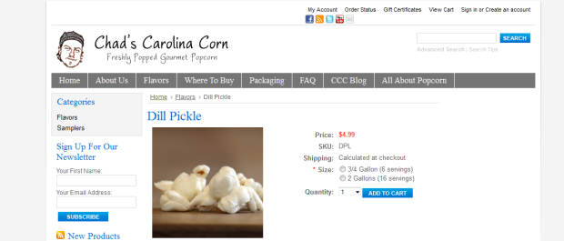 Chads Carolina Corn Homepage Snapshot